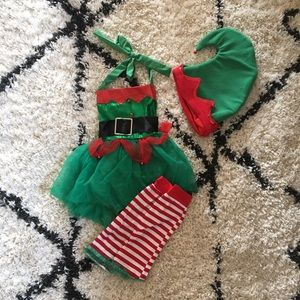 Baby girl Christmas elf outfit.